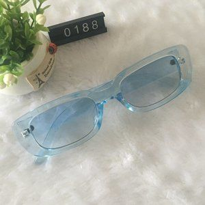 Blue Frame Sunnies Square Lens Sunglasses